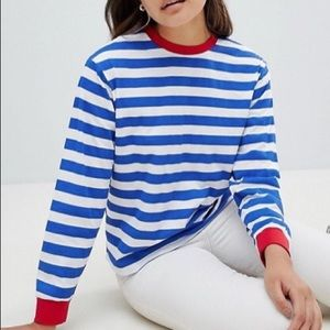ASOS DESIGN Striped T-Shirt w/ Contrasting Cuffs